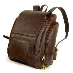 Jahn Tasche – Großer Lederrucksack / Laptop Rucksack bis 17 Zoll, Braun, Modell 709 Laptoptaschen