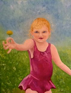 Girl with Flower - oil on canvas