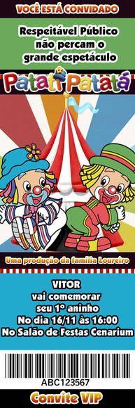 CONVITE TIPO INGRESSO VIP , CONFECCIONADO EM PAPEL FOTOGRÁFICO. MEDIDAS APROXIMADAS - 4,8X14,5CM NÃO FAZEMOS OUTROS TEMAS , NESSE ANUNCIO APENAS PATATI PATATA TROCAMOS O NOME, IDADE DATA E LOCAL . MÍNIMO 24 UNIDADES R$ 0,50 Comic Books, Clip Art, Yuri, Cupcake, Party Ideas, Invitation Birthday, Clowns, Centerpieces, Needlepoint