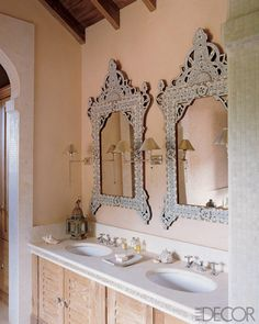 indian inspired, indian decor, indian interiors, indian jewelry, indian home Moroccan Decor, Moroccan Style, Bathroom Designs India, Design Bathroom, Bath Design, Mother Of Pearl Mirror, Eclectic Mirrors, Fancy Mirrors, Middle Eastern Decor