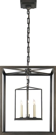 """Osborne Lantern from Visual Comfort.  Shown in Aged Iron (other finishes available).  Height: 22"""" (Height measurement does not include chain or canopy). Width: 18"""".  $1218 retail."""
