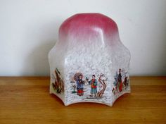 Art Deco Glass Pendant Lamp Light Shade with by QueensParkVintage
