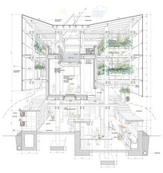 Sectional Perspective-project in Hokkaido by College of Environmental Design UC Berkeley, Kengo Kuma & Associates Architecture Graphics, Architecture Drawings, Amazing Architecture, Contemporary Architecture, Architecture Design, Ancient Architecture, Landscape Architecture, Architecture Magazines, Timber Architecture