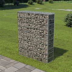 Argenziano Galvanised Steel Gabion Wall with Covers Sol 72 Outdoor Commercial Landscape Design, Espalier, Gabion Baskets, Gabion Wall, Gabion Fence, Steel Retaining Wall, Concrete Fence, Retaining Walls, Cement