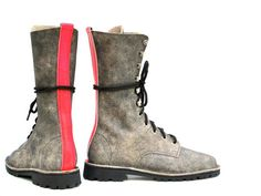 Grey Lace Up Leather Boots with a Neon Backstrap  UK by Sabine Graf