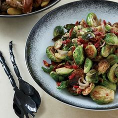 Caramelized Brussels Sprouts with Pancetta | Crisp pancetta brings flavor and texture to these earthy Brussels sprouts.