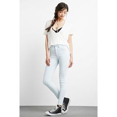 Forever21 The Fairfax High Rise Jean (365 MXN) ❤ liked on Polyvore featuring jeans, white high-waisted jeans, high waisted denim skinny jeans, high waisted white skinny jeans, skinny jeans and white skinny leg jeans
