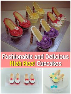 Fashionable and Delicious High Heel Cupcakes - Yummy awesomeness. Fashionable and Delicious High Heel Cupcakes Shoe Cupcakes, Diy Cupcake, Girl Cupcakes, Fun Cupcakes, Cupcake Recipes, Cupcake High Heels, High Heeled Cupcakes, Cupcake Party, Dessert Recipes