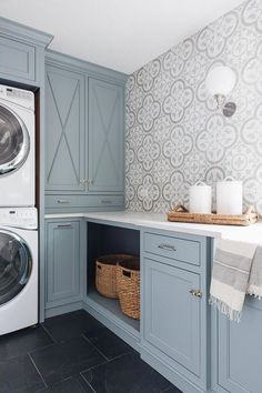 These Benjamin Moore Cloudy Sky laundry room cabinets are the perfect example of a blue gray paint colors! Laundry Room Remodel, Laundry Room Cabinets, Laundry Room Organization, Bathroom Cabinets, Basement Bathroom, Bathroom Vanities, Bathroom Ideas, Small Laundry Rooms, Laundry Room Design