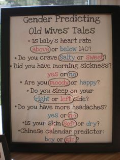 Gender Predicting Old Wives' Tales