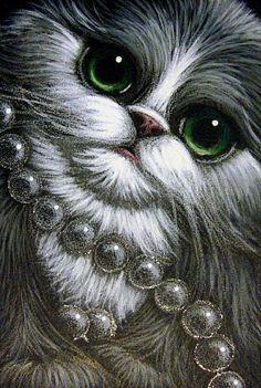 Art: TUXEDO PERSIAN KITTEN CAT MOM'S PEARLS by Artist Cyra R. Cancel