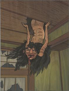 "Tenjō-kudari (天井下), its name means ""coming down from the ceiling,"" and that is pretty much the long and short of what this yokai does."