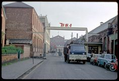 Photograph of the entrance to B. Works (makers of motorcycles), in Armoury Road, Small Heath, built in c. The photograph was taken in late Norton Motorcycle, Birmingham City Centre, Old Lorries, Birmingham England, Old Motorcycles, 2nd City, West Midlands, Commercial Vehicle, Filming Locations