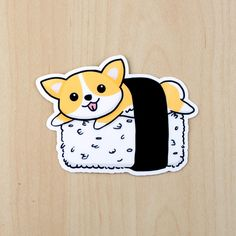 This listing includes 1 X sushi corgi sticker of your choice Approximate Dimension: Width: 4 inches These stickers are digitally drawn by me. Each one is then printed, die-cut, and laminated using a c Kawaii Stickers, Car Stickers, Laptop Stickers, Planner Stickers, New Sticker, Sticker Vinyl, Sticker Ideas, Tumblr Stickers, Corgi Dog