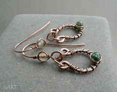 Copper Earrings Fancy Jasper Earrings Sterling by JustynaSart