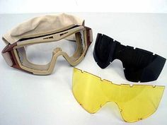 Airsoft Tactical Desert Goggle Glasses with 3 Lens Tan by AirSoft. $33.99. FEATURES: 3mm polycarbonate lens withstand high impact. Package include clear, smoke and high contrast yellow lens. Frame is made by bi-raw material. Interior made of elastic rubber. Elastic belt strap made of nylon fiber, 34mm width and about 42cm in max length. Designed for long term use and helmet compatibility. Tactical stylish looking. Comes with storage pouch. Great for outdoor war game activities. ...