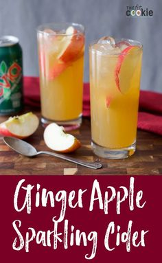 This delicious Ginger Apple Sparkling Cider is the perfect chilled drink for fall! It also has less sugar than regular sparkling cider so you can enjoy this drink during the holidays and still meet your health goals - Dairy Free Thanksgiving Recipes, Dairy Free Recipes, Holiday Recipes, Thanksgiving Meal, Easy Mocktail Recipes, Drink Recipes, Ginger Apple, Apple Cider, Best Cranberry Sauce