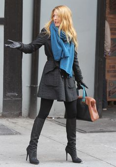 Blake Lively in black over knee boots x x