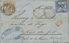 """Baden """"9 Kr. yellow brown retroactive franked on original got international folded cover Carlsruhe city post 21 September (1866) with 6 Kr. ultramarine to Rive de ravenousness, both stamps fresh colors and in perfect condition perfect perforations, abridged certificate with photo Stegmüller BPP """"perfect"""" - very decoratively""""!  Dealer Auction house Ulrich Felzmann  Auction Minimum Bid: 140.00EUR"""