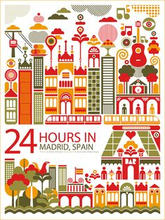 "24 Hours In Madrid, Fernando Volken Togni series of ""24 Hours in …"" prints  // #graphicDesign #travel"