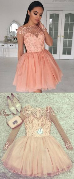 cute long sleeves homecoming party dresses beaded, simple short pink prom dresses, semi formal dresses with appliques.