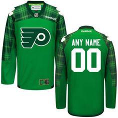 ecbef6088 Men s Philadelphia Flyers Reebok Green St. Patrick s Day Replica Custom  Jersey