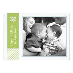 #Snowflake and #Stripes | #Green #Holiday #Photo #Cards #Xmas #Christmas #XmasCards #ChristmasCards #contemporary #ContemporaryHolidayCards