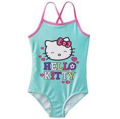 NWT Girls 5 5T HELLO KITTY Face One Piece Swimsuit Swimwear Aqua Pink Swim Beach #HelloKitty #Swimsuit