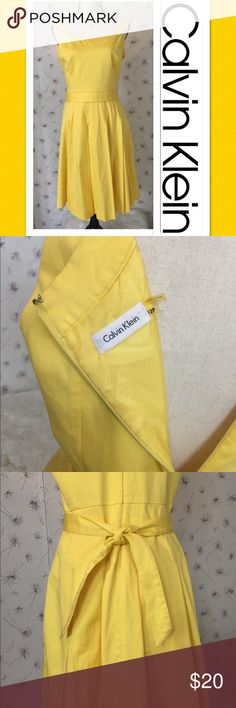 ☀️Sunshine Yellow Calvin Klein Belted Dress☀️12 Be bright and full of sunshine in this Calvin Klein belted dress! Sleeveless style with a hidden back zipper. This beauty has a fully lined skirt. Size 12. Measures pit to pit 19 inches, and shoulder to hem 38 1/2 inches. Waist is 16 inches across. Thanks for shopping my closet! Fast shipper! 💃🏼💃🏼 I ♥️offers and bundles! Calvin Klein Dresses Midi
