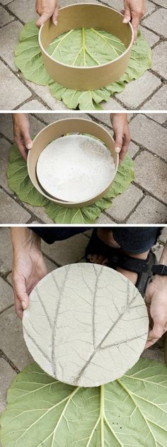 A DIY Leaf Imprinted Garden Stepping Stones tutorial using leaves, a cardboard tube and some cement to make a imprinted stepping stone for your garden.