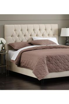 Master   microsuade oatmeal Button-Tufted Upholstered Bed - Beds - Bedroom - Furniture | HomeDecorators.com