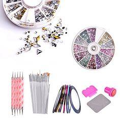 3000pcs 2mm 12 Color Nail Art Glitter Rhinestones Tips + 5 x 2 Way Marbleizing Dotting Pen + Tweezer