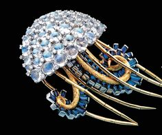 Jellyfish brooch of moonstone, sapphire and diamond by Jean Schlumber for Tiffany, 1960s.