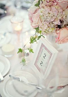 Pink reception table settings