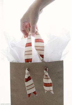 kraft paper bags w/ diy fabric handles..