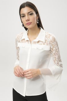 Kadın Beyaz Dantelli Gömlek