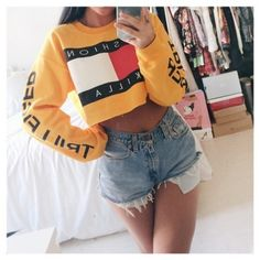 Soto Militia Fashion Killa x Trillfiger Crop Hoodie (Yellow) RESTOCKED... ❤ liked on Polyvore featuring tops, hoodies, outfit, cut-out crop tops, sweatshirt hoodies, yellow hoodies, hoodie top and cropped hoodies