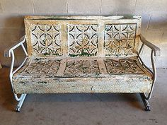 Rare Mid-Century Modern Decorative Pressed Steel Porch Rocker Couch