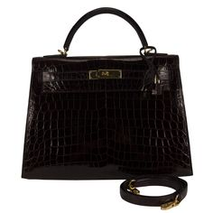 33b43cfcf2b6 Hermes Handbag Kelly II Selllier 32 Crocodile Niloticus Lisse Bordeaux Gold  Hardware 2015 - Hernes Handbag