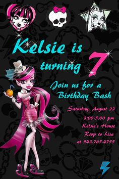 I will be re-creating this for kks party Cumple Monster High, Monster High Birthday, Monster High Party, Birthday Party Invitations, Birthday Party Themes, 7th Birthday, Birthday Ideas, Birthday Stuff, Invites
