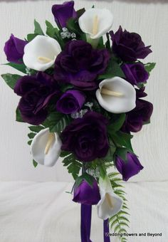 Purple roses white calla lilies cascade style 2 piece bridal bouquet and grooms flower Cascading Bridal Bouquets, Rose Bridal Bouquet, Cascade Bouquet, Wedding Bouquets, Wedding Flowers, Blue Bouquet, Gold Wedding, Deep Purple Wedding, Dream Wedding