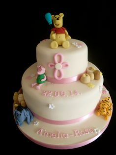 Whinnie the pooh and friends christening cake