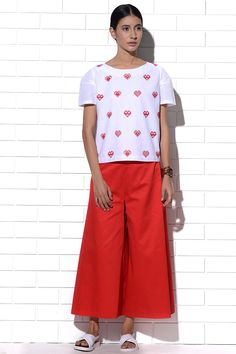 Mykonos Top in white with red hearts embroidery