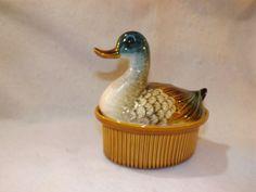 Vintage Ceramic Hand Painted Nesting Duck  Duck Gravy Tureen