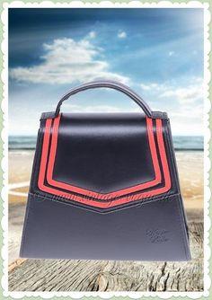11e7e2e0bfec5 Küstenluder 50er Jahre Vintage Matrosen Handtasche - Minda - Schwarz Rot  Retro Sailor Streifen Tasche in