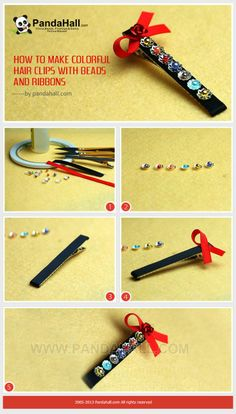 How to Make Colorful Hair Clips with Beads and Ribbons