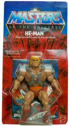 """The original He-Man action figure, mint on blister card, from the """"Masters of the Universe"""" line of toys"""