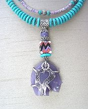 Purple Bear Necklace and Earrings by Mary Hicklin (Virgo Moon)