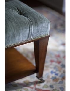 Details of the Ottoman table with deep buttoning. The shelf underneath is great for keeping books and magazines. Footstool Coffee Table, Coffee Table Furniture, Ottoman Table, Coffee Tables, Handmade Furniture, Ottomans, Magazines, Shelf, Dining Room