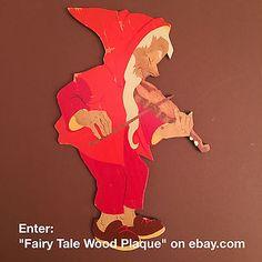German-Fairy-Tale-Wood-Plaque-HELLERKUNST-1960ies-Dwarf-w-Fiddle-034-R-22-Geiger-034